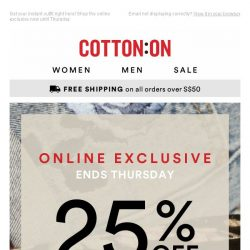 [Cotton On] OMG! 25% off ALL tops & shorts