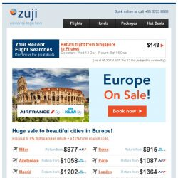 [Zuji] Bellissimo! Flights to Europe fr just $877 (return).