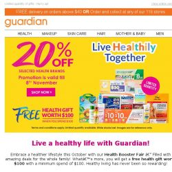 [Guardian] Healthy living made easy – Get up to 20% off and a FREE gift with a min. purchase of $100 🎁