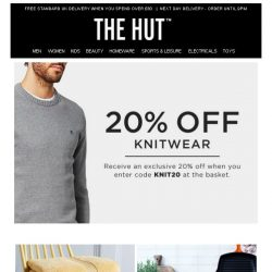 [The Hut] Enjoy 20% off knitwear, 3 for £28 on Le Creuset and more