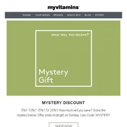 [MyVitamins] Mystery reward | What Will Your Discount Be?