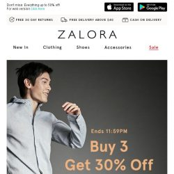 [Zalora] Get 30% off when you buy 3: Sale season ends today!
