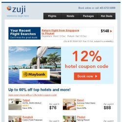 [Zuji] Up to 60% off hotels + 12% coupon code.