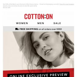 [Cotton On] SALE: Your online exclusive access