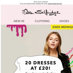 [Miss Selfridge] 20 dresses at £20 👘