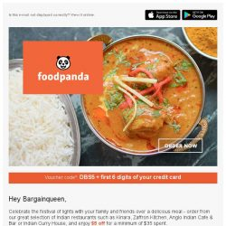 [Foodpanda] Get $5 off Indian cuisine this Deepavali with DBS!