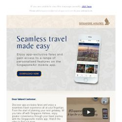 [Singapore Airlines] Enjoy app-exclusive fares from SGD168 with the SingaporeAir mobile app