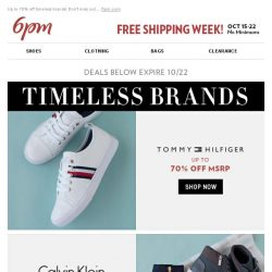 [6pm] Timeless Brands: Tommy Hilfiger Calvin Klein & More!