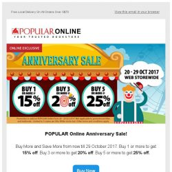 [Popular] 25% off for Anniversary Sale From Now Till 29 Oct