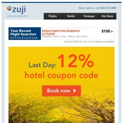 [Zuji] Last Day: Up to 70% off hotels + 12% coupon code.