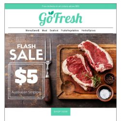 [GoFresh] $5 Australian Beef Striploin. Tasty, Juicy & Value for Money! Terms & Conditions Apply.