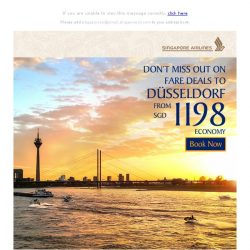 [Singapore Airlines] Don't miss our Economy Class fares to Düsseldorf from SGD1198
