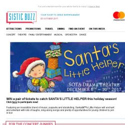 [SISTIC] WIN  tickets to catch SANTA'S LITTLE HELPER this holiday season! 🎅