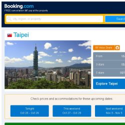 [Booking.com] Deals in Taipei from S$ 38