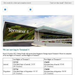 [Cathay Pacific Airways] We are moving to Terminal 4 starting 31 October