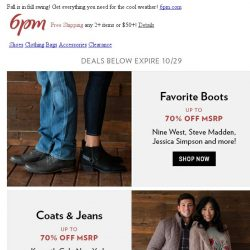 [6pm] Up to 70% off Ankle Boots, Coats, Jeans & More!