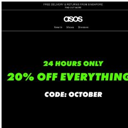 [ASOS] 20% off everything for 24 hrs – boo yeah!