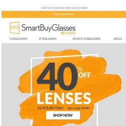 [SmartBuyGlasses] 40% Off Prescription lenses - Catch of the day 🎣