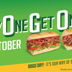 Subway: Buy 1 Get 1 FREE 6-Inch Subs on 26 October 2017!
