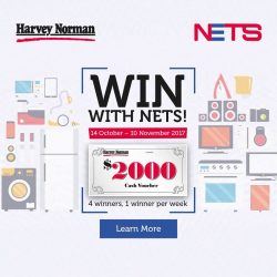 [Harvey Norman] Charge your purchases at HarveyNormanSG to NETS from now till 10 November and stand to win $2,000 Cash Vouchers!