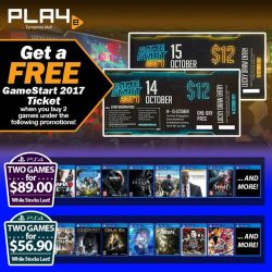 [GAME XTREME] GameStart 2017 Ticket Giveaway Promo【PROMO DURATION】 Now - 14/10/17【DETAILS】 Buy games at a huge discounted price AND