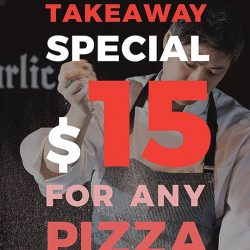 [Mad for Garlic] For a limited time only, enjoy any Pizza on our menu for takeaway for just $15+.