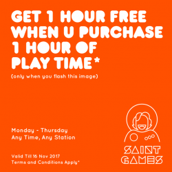 [Mr Shop/My Republic] Round up your buddies this weekend to enjoy a special 1-for-1 promotion at Saint Games cafe!