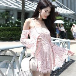 [MDSCollections] Off Shoulder Lace Romper in Pink, one of our best sellers on sale item | Also available in Black & White