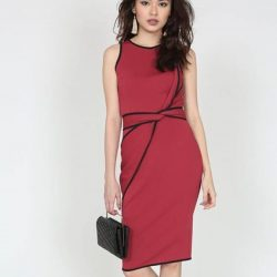 [MDSCollections] Contrast Trim Twisted Knot Dress In Maroon | Online best sellers, on sale items