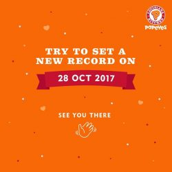 [Popeyes Louisiana Kitchen Singapore] Put your chicken-eating prowess to the test this Saturday, 28 October 2017!