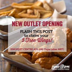 [Wing Zone Singapore] We're celebrating our newest outlet opening so here's 5 FREE wings for you!