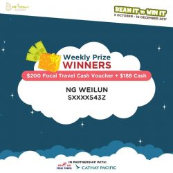 [Mr Bean Singapore] Congratulations to our winners, you've won yourself $200 Focal Travel Cash Voucher + $188 Cash!