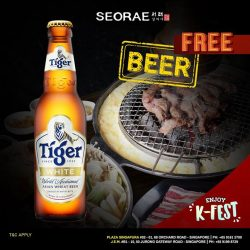 [SEORAE] Enjoy a Free Ice cold bottle (330ml) of new white Tiger beer with every 2 ala carte grill meat.