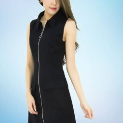 [MOONRIVER] Cherry Front Zip With Pocket Shift Dress - Just In.