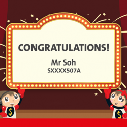 "[OCBC ATM] Congratulations to Mr Soh, the winner of a Toys ""R"" Us shopping spree!"