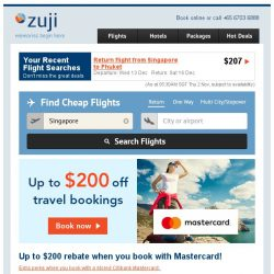 [Zuji] Up to $200 OFF flights and packages!