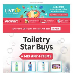 [Redmart] Toiletries Stock Up Sale! Mix any 4 and SAVE 30%