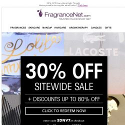 [FragranceNet] What's on sale? Anything & everything with 30% OFF