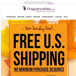 [FragranceNet] FREE SHIPPING = Your Tuesday Treat