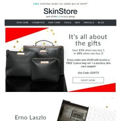 [SkinStore] It's all about the gifts | Save up to 20% + receive a FREE gift