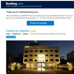 [Booking.com] Comfort Inn Sapphire – are you still interested in staying?