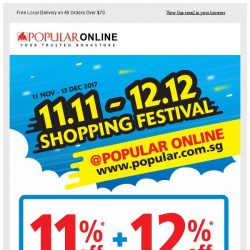 [Popular] Counting Down For 11.11 Shopping Festival. 11% off Web Storewide! Members Get add. 12% off.