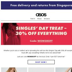 [ASOS] 30% off everything – Singles' Day surprise!