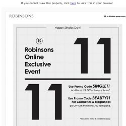 [Robinsons]  ⚠️ 11/11 Online Sale. 1-Day-Only. Click for 11%OFF code