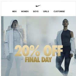 [Nike] Final Day: 20% Off