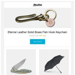 [Massdrop] Eternal Leather Solid Brass Fish Hook Keychain, Rike Knife 1508s Integral Handle Folder, Blunt XL Umbrella and more...