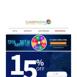 [Floweradvisor] Spin and Win still On, Test Your Luck Here! + Enjoy 15% Off with Your Phone