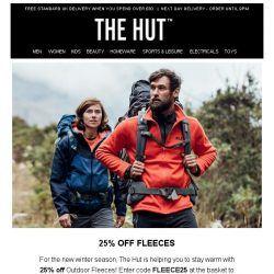 [The Hut] Limited time only | 25% off Fleeces