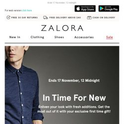 [Zalora] In time for NEW! Extra 18% off your first order!