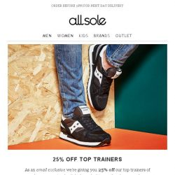 [Allsole] Email Exclusive | 25% off Top Trainers